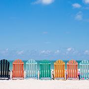 summer beachfront deck chairs
